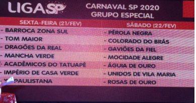 Confira a Ordem do desfile do Grupo Especial SP Carnaval 2020!