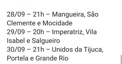 Ordem da gravação do anuncio dos Sambas campeões do grupo especial